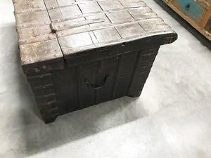 Antique Indian teak wood chest with iron hardware and strappings
