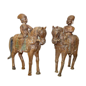 Pair of Antique Indian carved teak temple guardians on horses