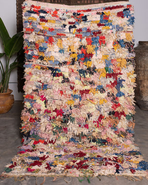 AVL Vintage Moroccan rug called a Berber Boucherouite from the middle Atlas mountains. 8 ft 10 in Long x 4 ft 11 in Wide
