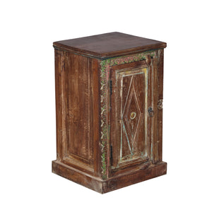 Reclaimed teak night stand, India, using antique architectural panels, pair available
