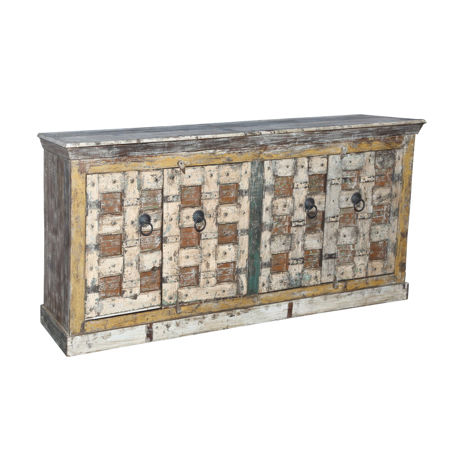 Indian teak wood cabinet made from antique architectural components