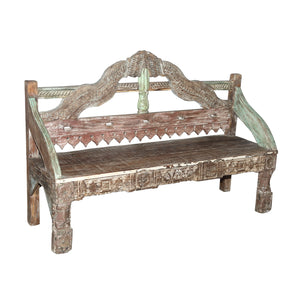 Indian teak wood bench made from antique architectural components
