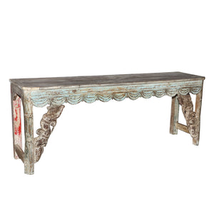 Indian teak wood console table made from antique architectural components