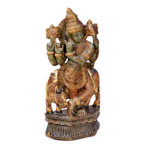 Vintage Indian Carved and Polychromed statue of Krishna