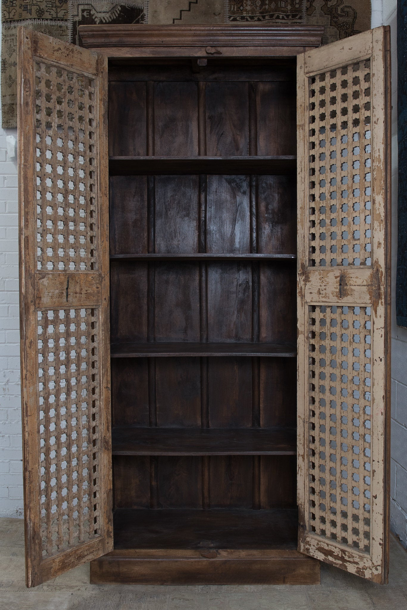 Teakwood bookcase/armoire made with antique garden doors - Teakwood Bookcase/armoire Made With Antique Garden Doors - Sunnyside TC