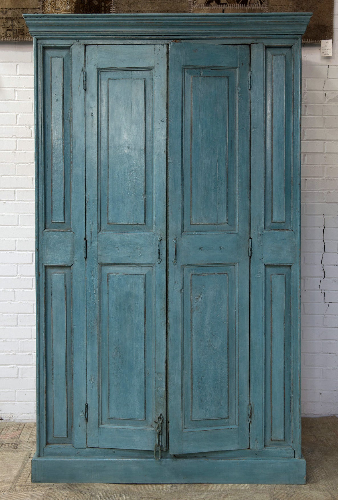 Painted Teakwood Armoire Made From An Antique Door Facade