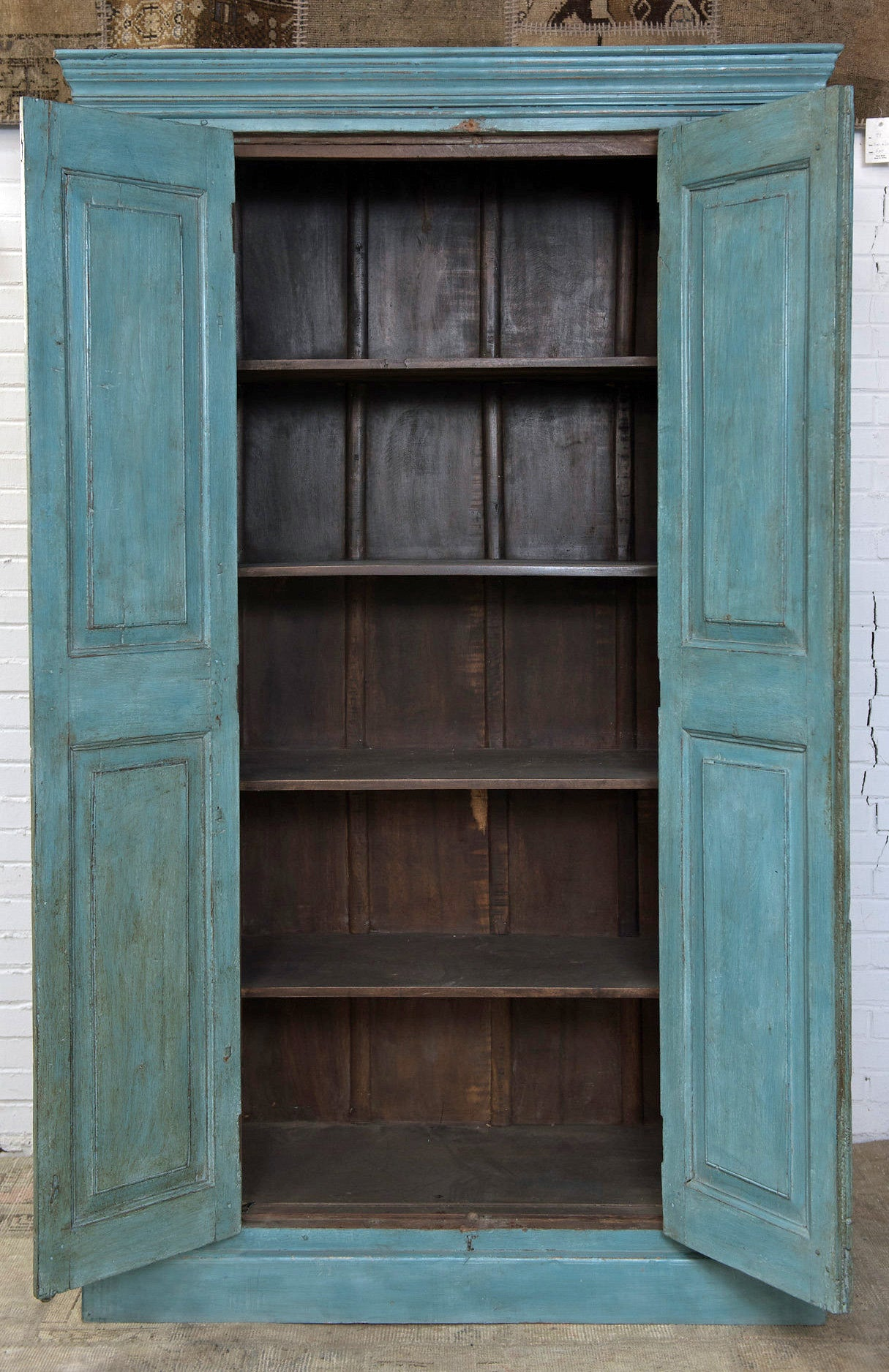 Painted Teakwood armoire, made from an antique door facade - Vintage Industrial Metal Locker - Sunnyside TC