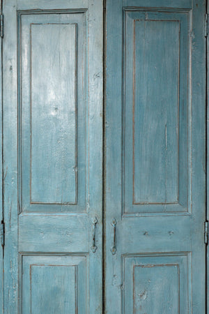 Painted Teakwood armoire, made from an antique door facade