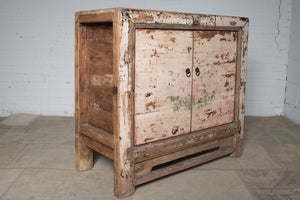 Vintage Chinese rustic painted hall cabinet