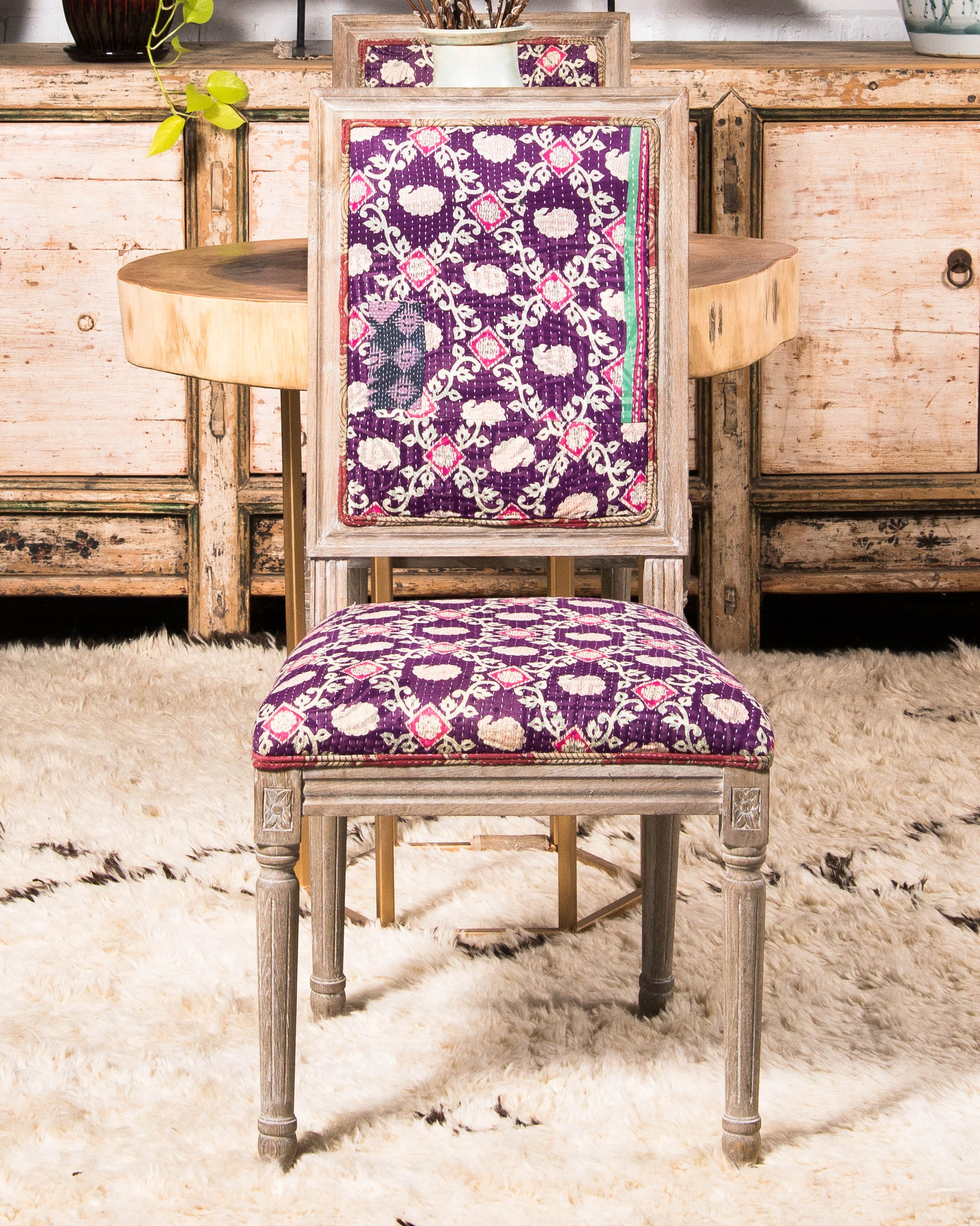 Vintage Kantha Dining Chair, 2 Available