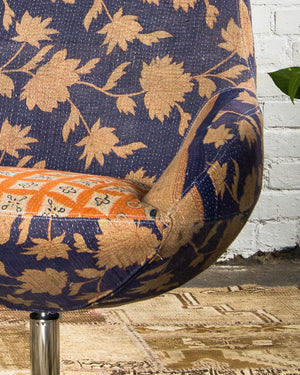 Mid-century style chair, covered in vintage kantha textiles