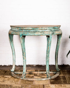 "Reclaimed pine painted demi-lune ""half moon"" console table"