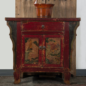 Antique Chinese Painted Elm Hall Cabinet