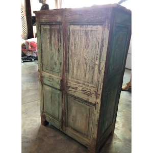 Indian Small Teak Cabinet made w/ Antique Door Panels