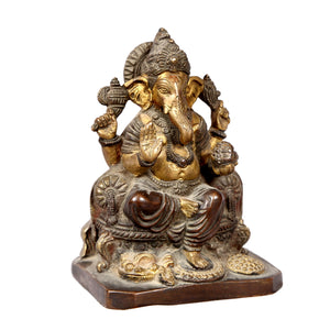 Vintage Indian brass spiritual deity statue of GANESHA