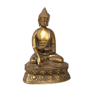 Vintage Indian brass spiritual deity statue of Buddha