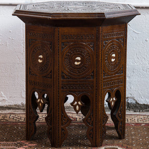 Vintage Moroccan hexagonal walnut side table with mother of pearl inlay