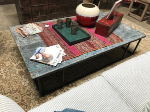 Antique Chinese elm door coffee table