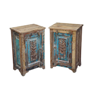 Indian nightstand/bedside cabinet made from antique door panels and reclaimed teak