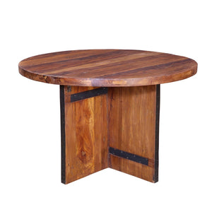 Indian Reclaimed Teak Round Table with X-cross frame base