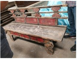 Chinese Painted Pine Bench 69 x 19 x 34