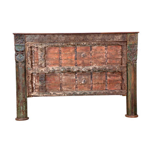 Indian Teak King Size Headboard made from antique doors and columns
