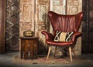 HE389-3 Tufted Wingback Chair in Brown PU Leather TX3009