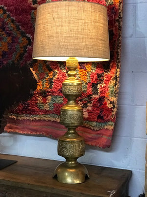 Vintage Moroccan large incised brass columns turned into lamps, a pair available