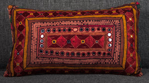 "Vintage Indian Textile made into pillow 18"" x 10"""