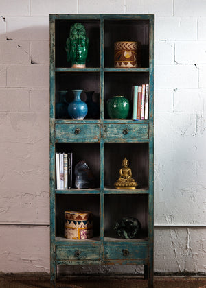 Reclaimed painted pine bookcase