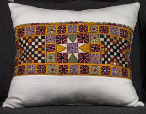 "Vintage Indian Textile made into pillow -21"" x 18"""