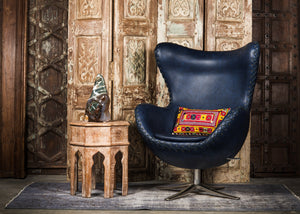 SHE-066 Egg Chair in Blue PU Leather TX4228