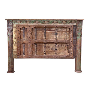 Indian Teak King Size Headboard made from an antique door