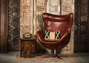 SHE-066 Egg Chair in Brown PU Leather TX1019