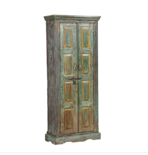 Indian painted armoire made from antique Rajasthani doors