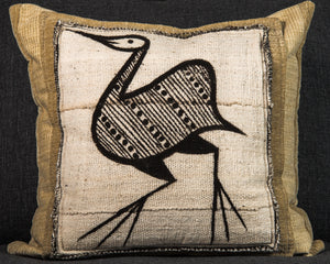 Vintage Mali Mud Cloth Pillow 20x20 Beige with Bird