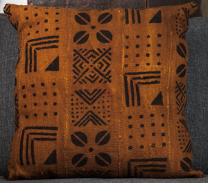 Vintage Mali mud cloth pillow 20x20 - single sided in Rust/Black
