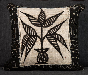 Vintage Mali Mud Cloth Pillow 20x20 - Plant