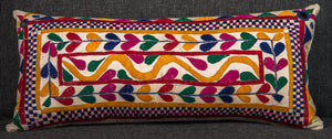 Vintage Indian Textile Bolster Pillow