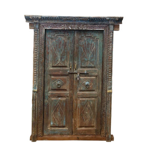 Antique Indian Painted Teak wood Door and Frame
