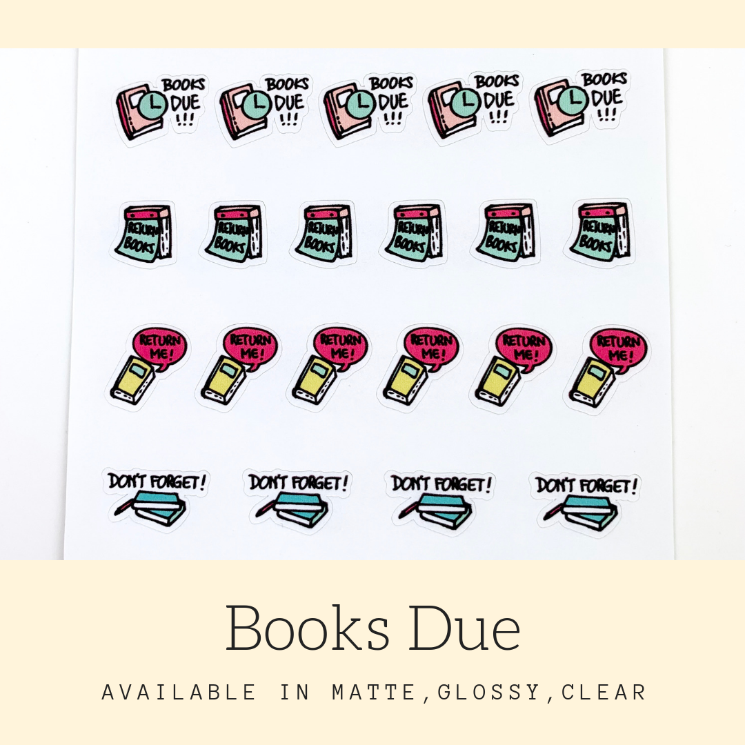 Book Due Stickers | Icon Stickers | CS171A