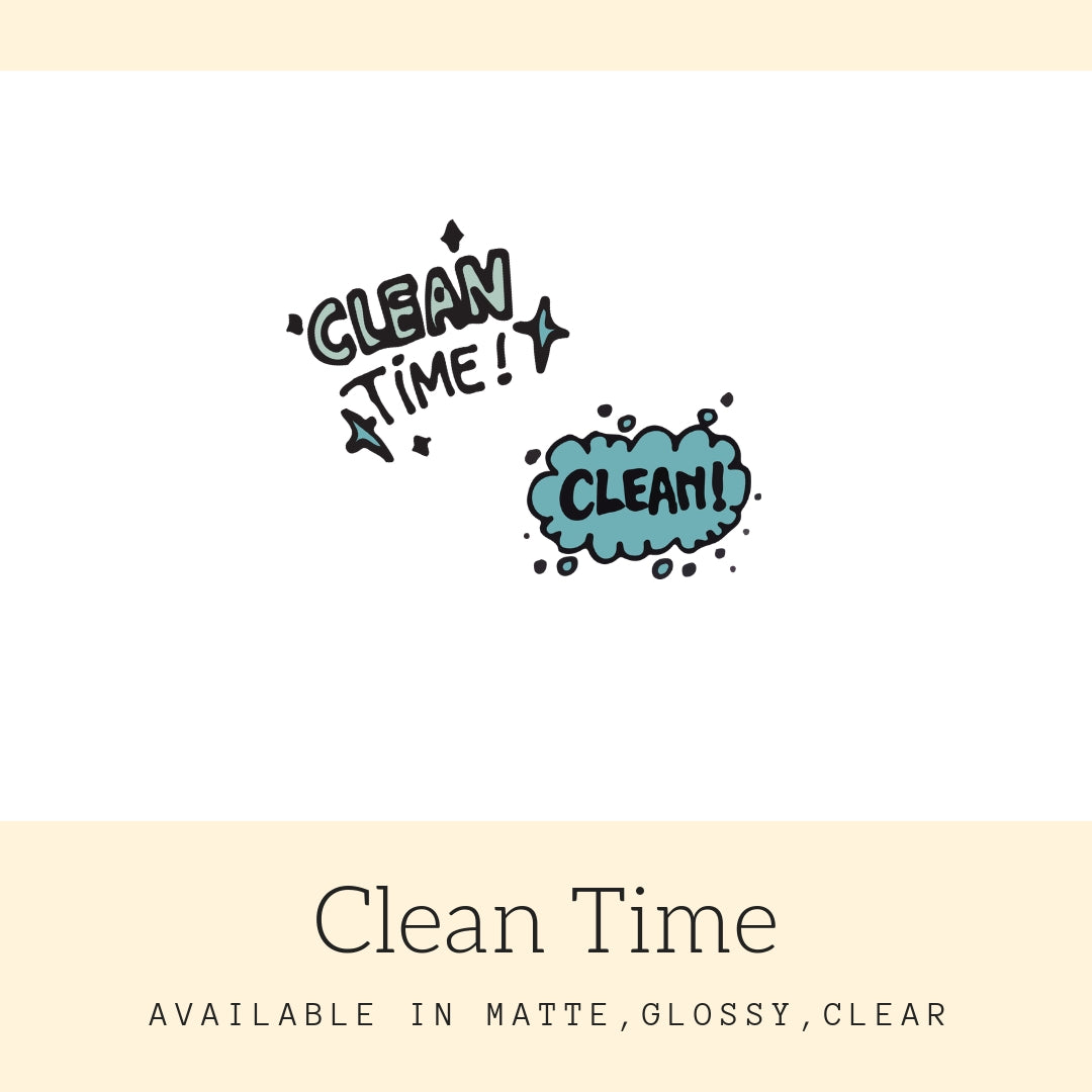 Clean Time Stickers | Icon Stickers | CS160