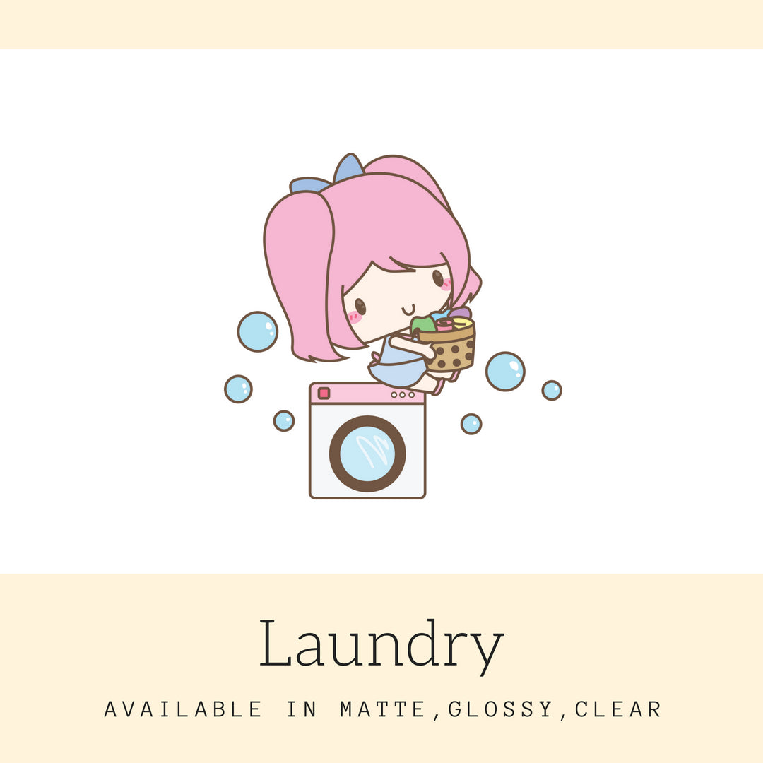 Laundry Stickers | Character Stickers | Mari | Planner Stickers | Erin Condren | AS65