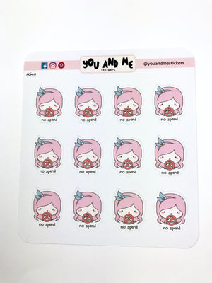 No Spend Stickers | Character Stickers | Mari |  Erin Condren | AS49