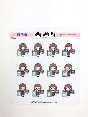 Planner Girl Stickers | Character Stickers | Erin Condren | AS90
