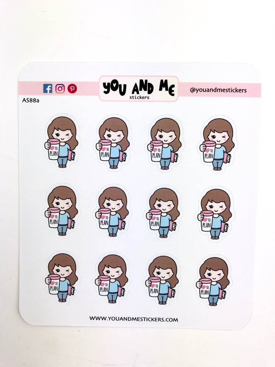 Planner Girl Stickers | Character Stickers | Erin Condren | AS88