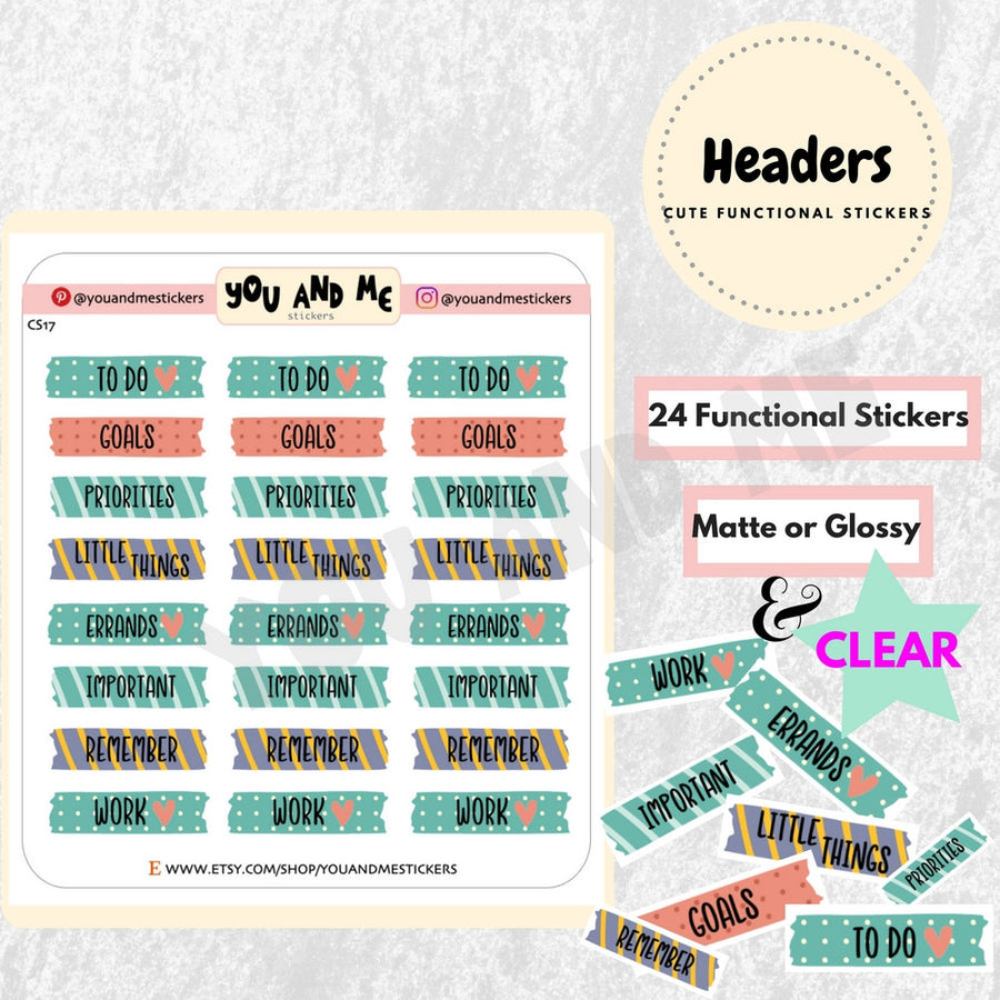 Headers | Functional Stickers | Planner Stickers | Erin Condren | CS17