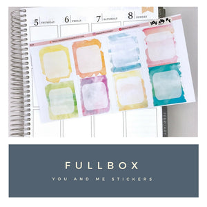 Watercolor Full checkbox Planner Stickers | Erin Condren Planner | Happy Planner | Full Checkbox | Vertical | BS25