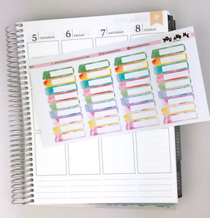 Watercolor headers planner stickers | Erin Condren Planner | Happy Planner | Half boxes |  BS23