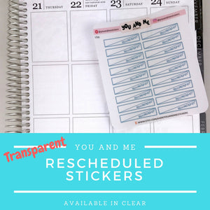 Transparent Stickers | Clear Stickers | rescheduled Stickers |  Functional Stickers | Planner Stickers | Erin Condren | Happy Planner | LS33